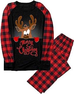 Lenfesh Christmas Family Conjunto de Pijamas a Juego clásico a Cuadros Pantalones o Mameluco de bebé Ropa de Dormir de Navidad para bebés niños Adultos