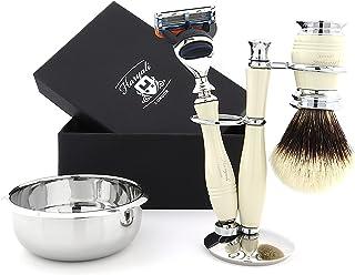 5-częściowy zestaw do golenia dla mężczyzn – zestaw do golenia nabojów zawiera srebrne końcówki z borsukiem i miską do gol...