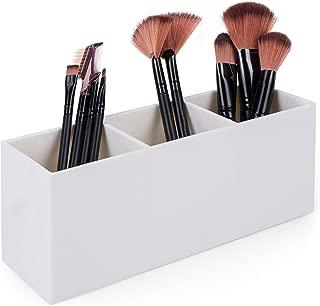 Dseap Makeup Brush Holder Organizer - Acrylic, 3 Compartments - Make up Brushes Holder, Makeup Brush Cup Container Storage Case, White