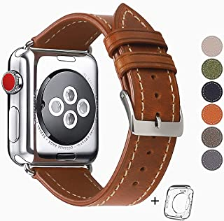 Compatible for Apple Watch Band 42mm 44mm, Top Grain Leather Band Replacement Strap iWatch Series 5/4/ 3/2/ 1,Sport Edition New Retro discoloured Leather