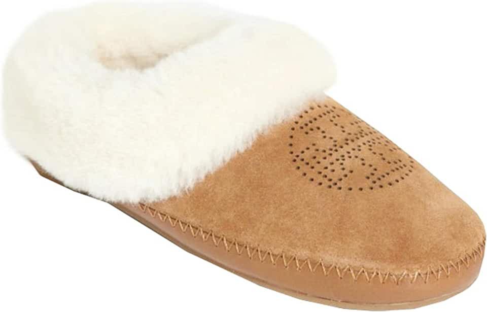 Tory Burch Natural Suede Coley Perforated Slipper Deep Split (9 M US, Royal Tan)