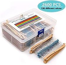 MelkTemn 2600pcs Resistor Kit 130 Values 1 Ohm-3M Ohm 1 / 4W Metal Film Resistors Assortment with Storage Box for DIY Proj...