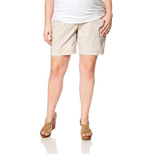 4be2f95d3ccd6 Motherhood Plus Size Secret Fit Belly Roll Hem Maternity Shorts