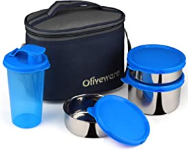 Oliveware Mayo Lunch Box   3 Stainless Steel Containers with Plastic Sipper   School, College & Office   Insulated Fabric Bag   Leak Proof & Microwave Safe   Full Meal & Easy to Carry (Blue)