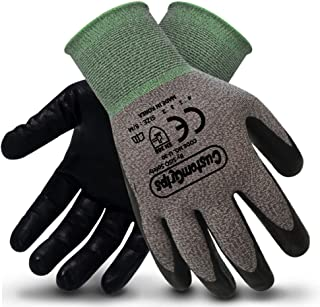 CustomGrips Cut Resistant Work Gloves. Span-Nylon Liner, Level 4 Abrasion Resistance, Nitrile Foam Palm Coated for Utility Grade. Superior Grip Power on Oily & Wet Environment. [Medium, 6 Pairs]