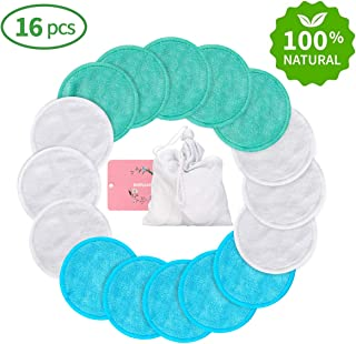 Reusable Makeup Remover Pads Wipes 16 Packs, Reusable Cotton Pads Face Washable Organic Bamboo Cotton Rounds Toner Pads, Facial Cleansing Cloths, with Laundry Bag (3 Colors)