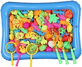 Magnetic Fishing Toys Game Set for Kids & Toddlersシ沓ath Fishing Toy Floating Fishing Game with 46pcs Fishes, Magnetic Fishing Pole, Inflatable Pool, Fishing Nets, Inflator Bathtub Toy Set