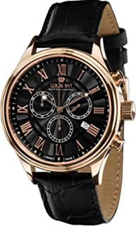 Louis XVI Men's-Watch Danton l'or Rose Noir Swiss Made Chronograph Analog Quartz Leather Black 517