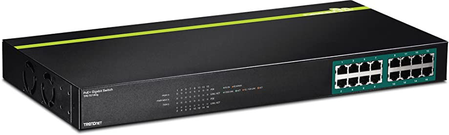 TRENDnet 16-Port Gigabit PoE+ Switch, 246 Watt PoE Budget, 32 Gbps Switching Capacity, Rack Mountable with Hardware Included, LED Indicators, Automatically Recognize PoE Cameras, Lifetime Protection, TPE-TG160G