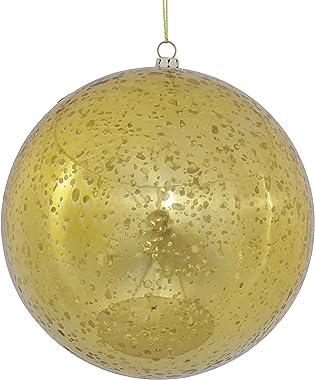 "Vickerman 6"" Christmas Ornament Ball, Gold Shiny Mercury Finish, Shatterproof Plastic, Holiday Christmas Tree Decoration,"