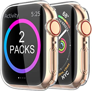 BRG Case Compatible with Apple Watch Screen Protector Series 5 Series 4 40mm,2 Pack iWatch Series 5 4 Soft TPU HD Clear Ultra-Thin Overall Protective Cover Case