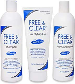 FREE AND CLEAR Shampoo 12 oz – Conditioner 12 oz – Styling Gel 7 oz – THREE ITEM VALUE SET – Dermatologist Recommended – Sulfate Free – Fragrance Free – Best Shampoo and Conditioner Set