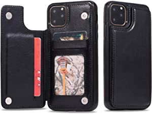 XINHUANG Leather Phone Case for iPhone 8 11 Pro Max X 7 8 Plus 5 5s Business Card Holders Retro PU Case for iPhone Xs Max XR 6 6s 7 8 XS (Color : A, Size : Iphone5S/5se)