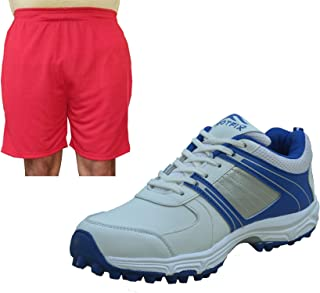 FOOTFIX Men's Ryder White Cricket Shoes for Men, Cricket Sports Shoes with Free Red Shorts