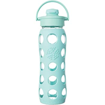 Lifefactory LF234004C4 22-Ounce BPA-Free Glass Water Bottle with Flip Cap and Silicone Sleeve, Turquoise, 22 Ounce