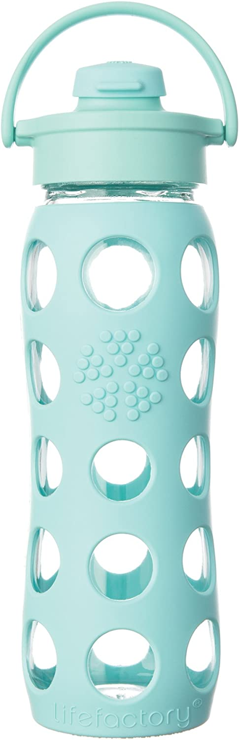 Lifefactory 22Ounce Glass Bottle with Flip Cap and Silicone Sleeve, Turquoise