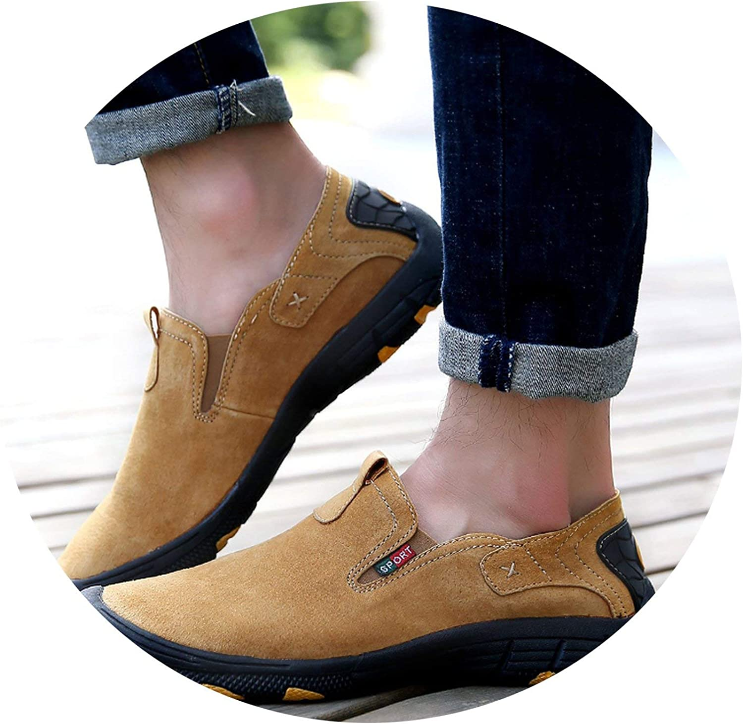 OH WHY Casual shoes Cow Suede Leather shoes Moccasins Slip On Men's Flats Loafers Male shoes
