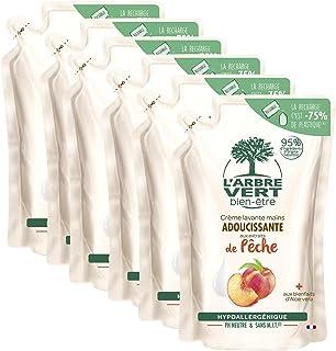 Larbre vert Bien-être Recharge Crème Lavant Mains Pêche Bio aux Bienfaits dAloé Vera BioExtraits de Pêche Bio - Pack de 6