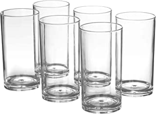 20-ounce Plastic Tumblers Dishwasher-Safe Premium Quality Juice Water Glasses BPA-free Clear Set of 6 Drinking Cups
