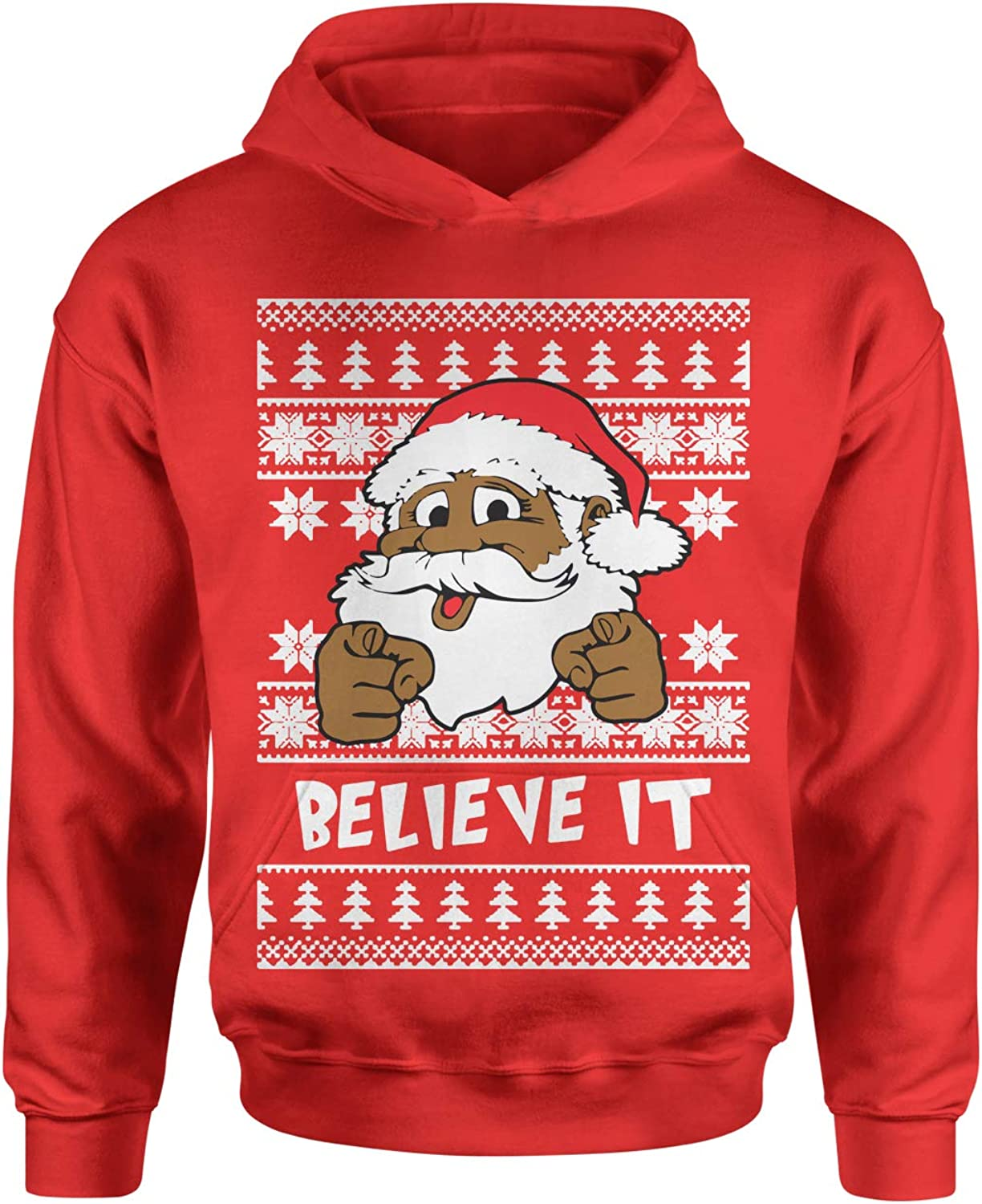 Black Santa Clause Ugly Christmas Youth-Sized Hoodie Motivated Culture Believe It