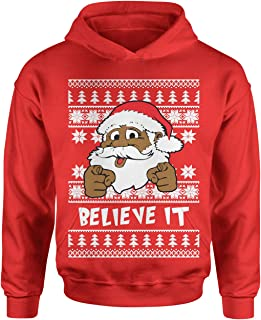 Motivated Culture Believe It Black Santa Clause Ugly Christmas Youth-Sized Hoodie