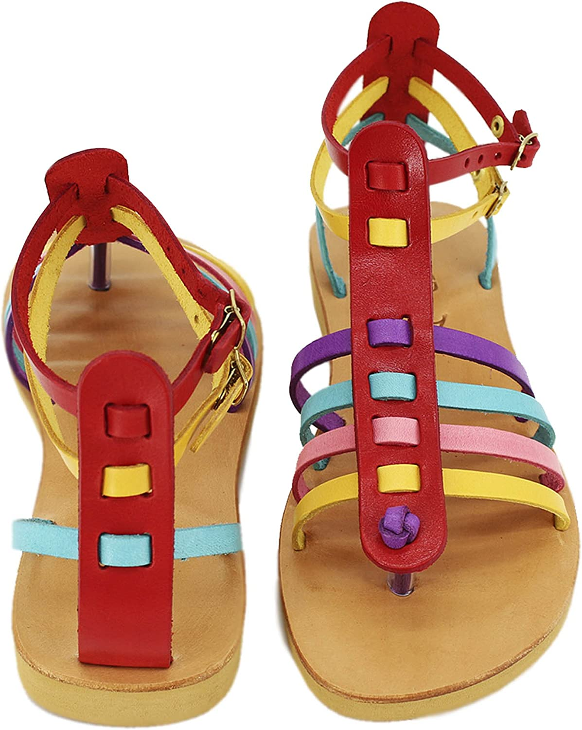 Gladiator, Handmade Leather Sandals, Multicolord Sandals, Strappy Sandals, Double Ankle Strap - BONBON