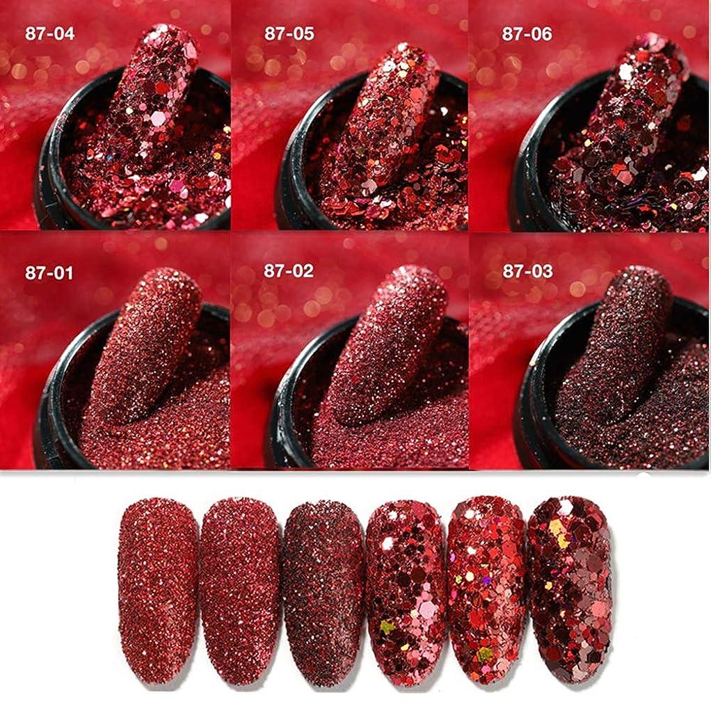 密輸懺悔魂6 ケースセット 赤の系ネイルグリッタージェルネイル 紅のシリーズラメホログラムセット1mmパンコール&パウダーミクスサイズグリッターラメホログラム