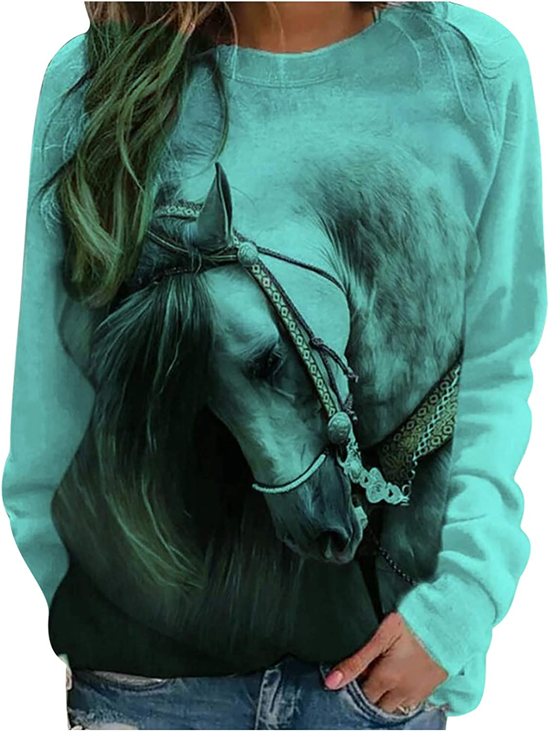 Sweatshirts for Teen Girls,Tie Dye Oil Painting Horse Printed Pullover Tops Long Sleeve O-Neck Casual Loose Jumper Shirts