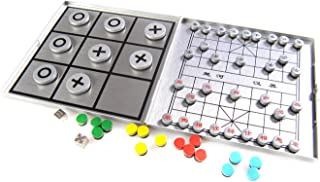 playing board 10,5cm x 10cm x 0,6cm in aluminium box travel set by Quantum Abacus game pieces with X /& O XY008P US Attica Alu Series: Tic-Tac-Toe