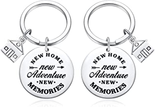 2PC Housewarming Gifts, New Home New Adventures New Memories Keychain Gift Ideas for New Home Owner-Couple Keychain for Women Men Realtor Closing Key Chain