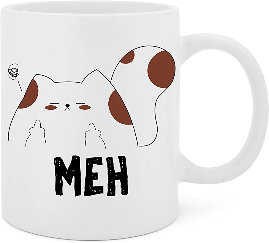 Meh Unamused Cat 11 Oz White Ceramic Glossy Mug With Large C Handle Microwave And Dishwasher Safe