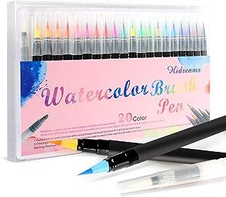 20 Colores Rotuladores Acuarelables y 1 Pincel de Agua, Punta de Pincel de Nylon Suave y Flexible, lápiz de Pincel fácil de Usar