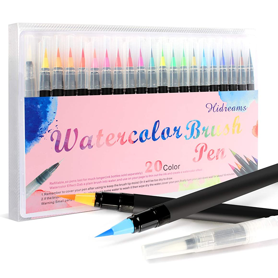 Hidreams 20 Colors Watercolor Markers Brush Pen Set,Watercolor Brush Pens with Soft Flexible Tip, Water Soluble for Adult Coloring Books Manga Comic