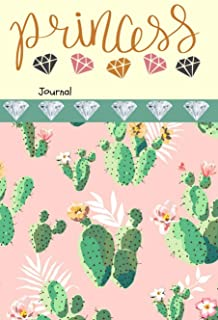Princess Journal: Cactus Diamonds Writing Diary 6 x 9 Blank 100 Pages Lined Book for Taking Notes and Journaling for Woman...