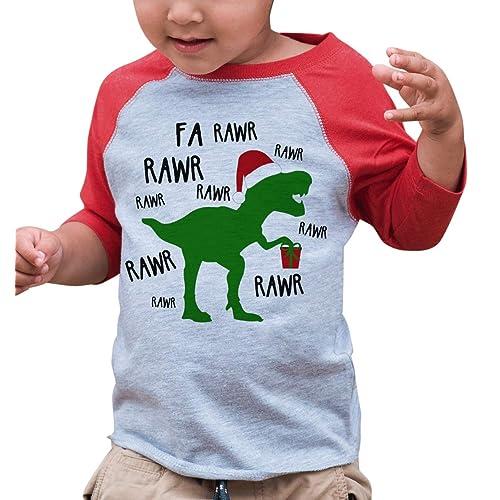 740c75b229 7 ate 9 Apparel Youth Christmas Dinosaur Red Raglan T-Shirt