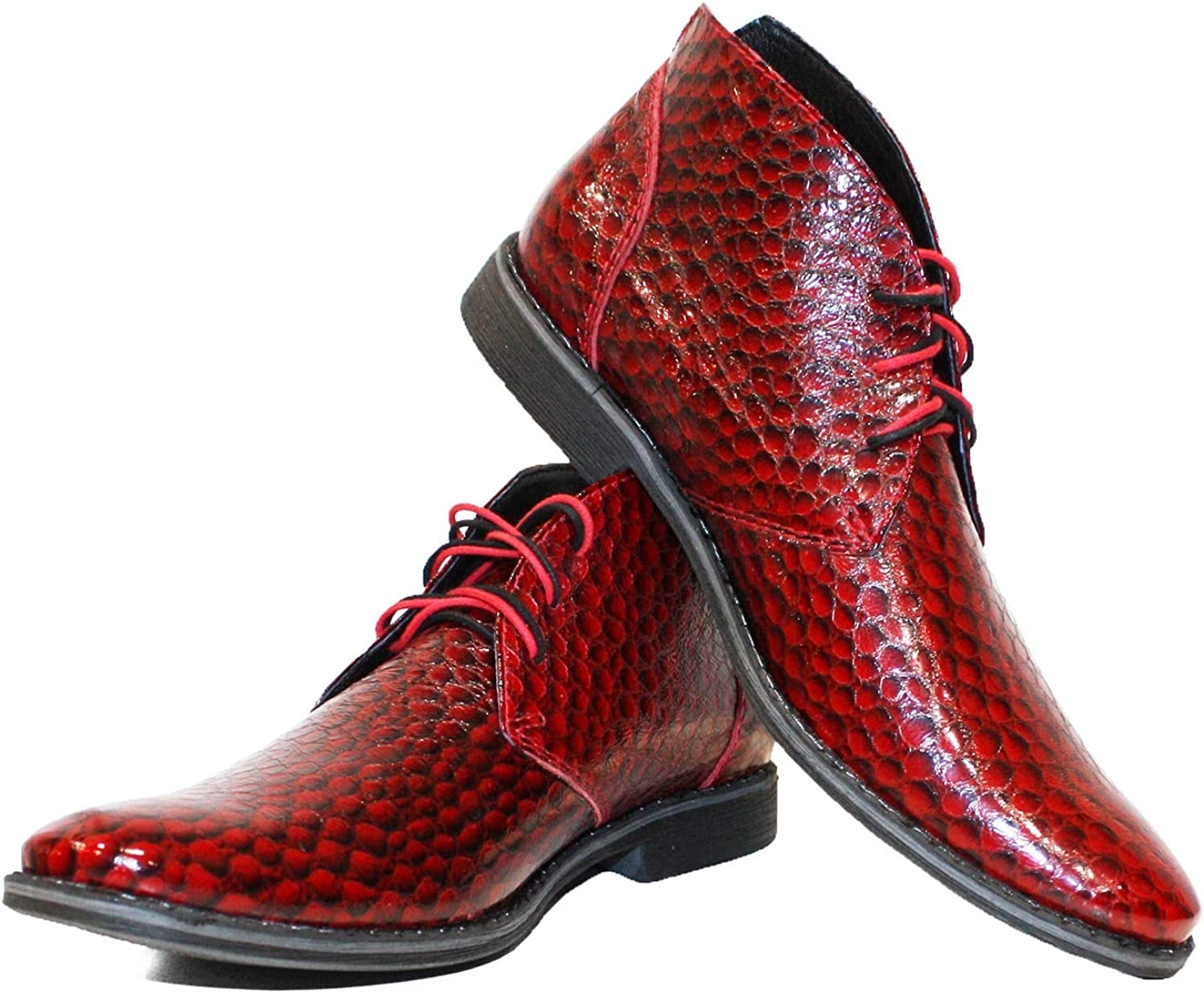 Peppeshoes Modello Robeth - Handmade Italian Leather Mens color Red Ankle Chukka Boots - Cowhide Patent Leather - Lace-Up