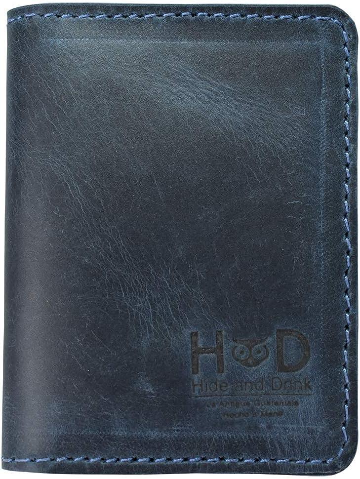 Hide & Drink, Leather Bifold Wallet, Holds Up to 8 Cards Plus Folded Bills, Minimalist Traveller Wallet, Organizer, Vintage Front Pocket Wallet, Handmade Includes 101 Year Warranty :: Slate Blue