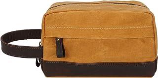 Men's Handbag Oil Wax Canvas Wash Bag Retro Male Bag Hand Bag with Leather Wrist Bag (Color : Orange, Size : S)