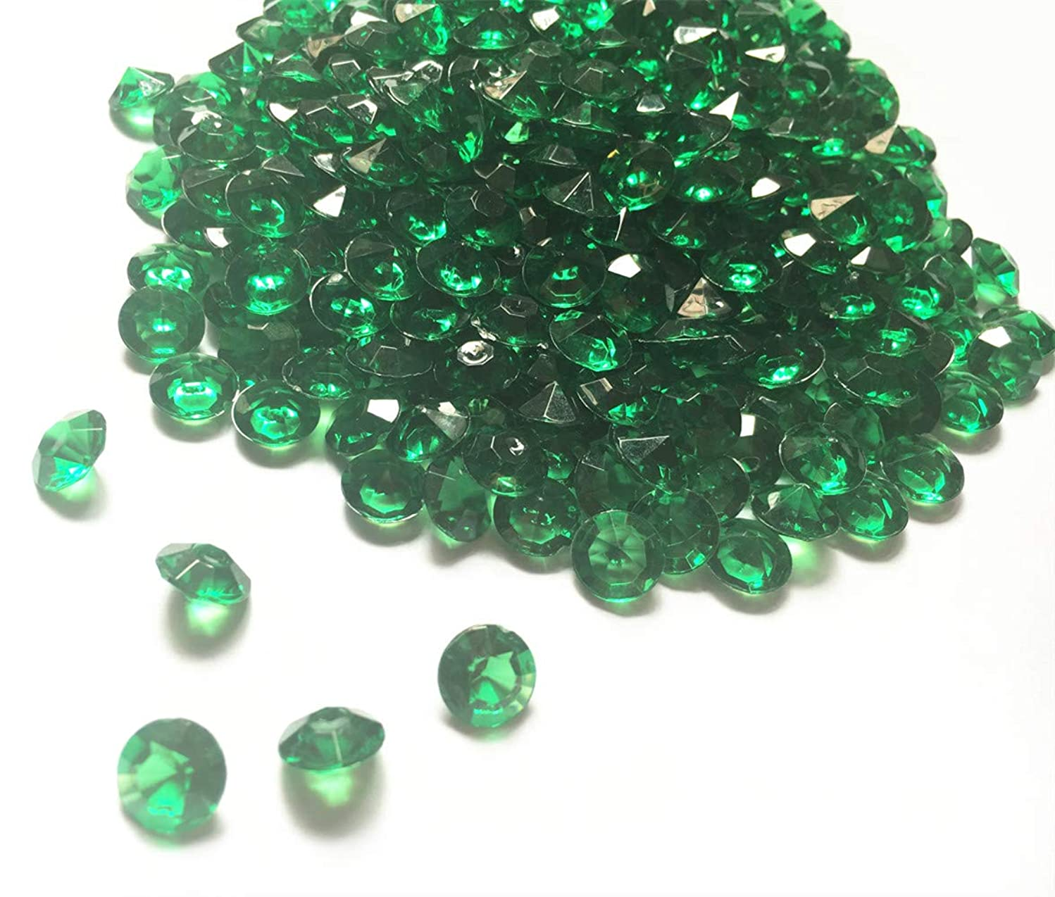 Briliant Shop 10mm Acrylic Color Faux Round Diamond Crystals Treasure Gems for Table Scatters, Vase Fillers, Event, Wedding, Arts & Crafts (1000 pcs) (Emerald Green)
