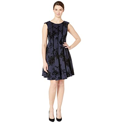 Gabby Skye Flocked Velvet Scuba Seam Down Fit N Flare (Navy/Black) Women