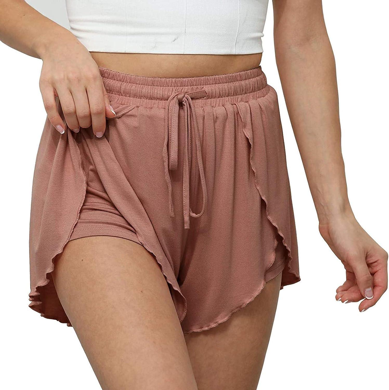 XLLX 2021 Women's Casual Elastic Waist Comfy Drawstring Belt Solid Comfy Shorts Wide Leg Vacation Summer Beach Shorts