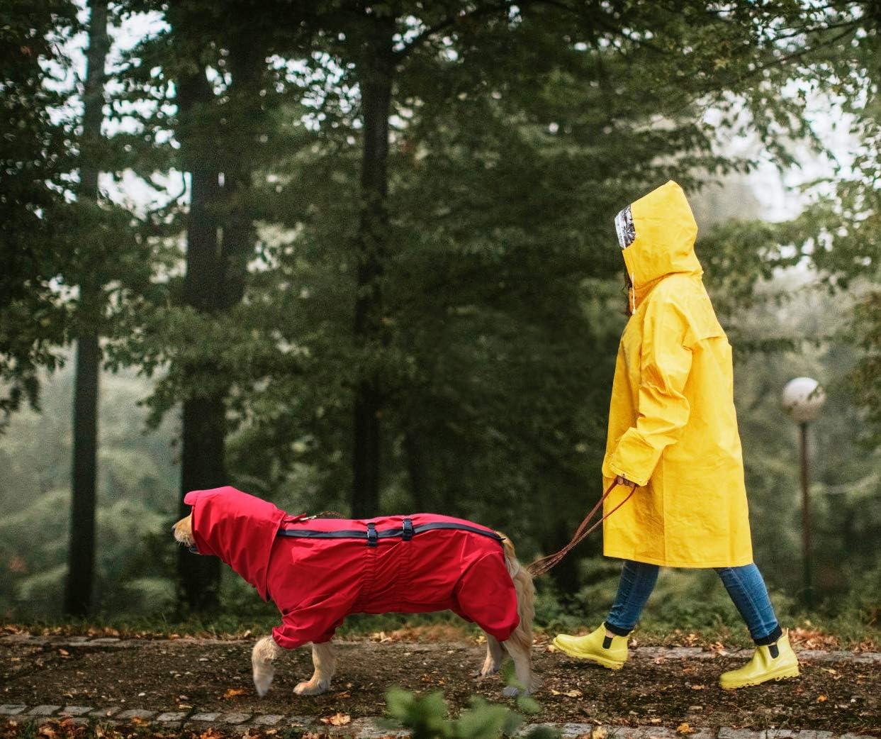 con Orificio para arn/és Poncho de Lluvia para Perros Ajustable Idepet Chubasquero para Perros L Impermeable Impermeable para Perros