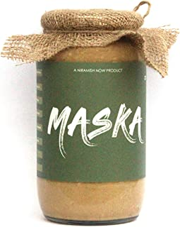 Maska Natural Peanut Butter Crunchy 1000 GMS | High Protein | All-Natural | Organic | Glass Jar | Gluten Free | Vegan | Ve...