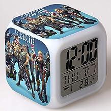 ساعة تنبيه رقمية من Fortnite شاحن USB إضاءة LED ساعات منبه لغرف النوم شاشة LCD خافتة