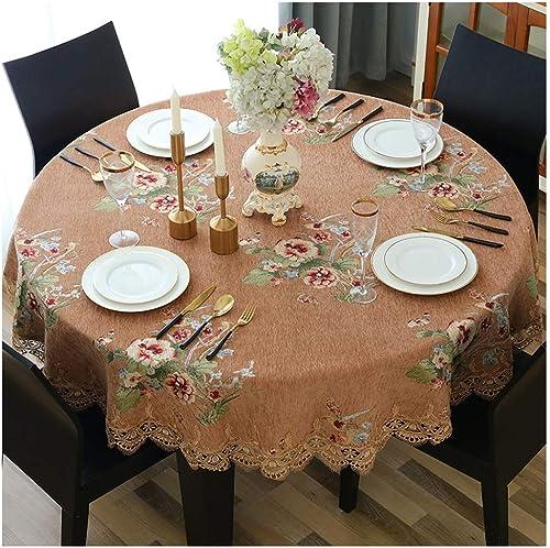 Qiao jin &Tischdecke Runde Tischdecke - wasserdicht und ölBesteändig Tischdecke Antikstil Leinen Nahtlose Tischdecke Spitze Tischdecke Tischdecken (Farbe   D, Größe   Round-140cm)