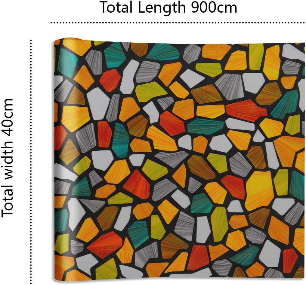 VEELIKE Stained Glass Frosted Privacy Window Film Opaque Static Cling Window Film Colour Stone Vinyl Window Protector Film Anti UV for Bathroom Bedroom Office 40cm x 300cm