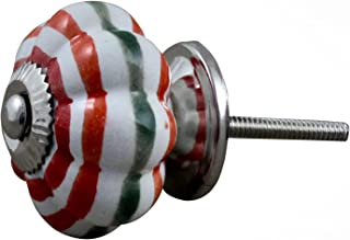 RoyaltyRoute Round Pumpkin Knob Stripes Ceramic Cupboard Knob for Drawers Chest - Vintage Shabby Chic Drawer Pull Handles
