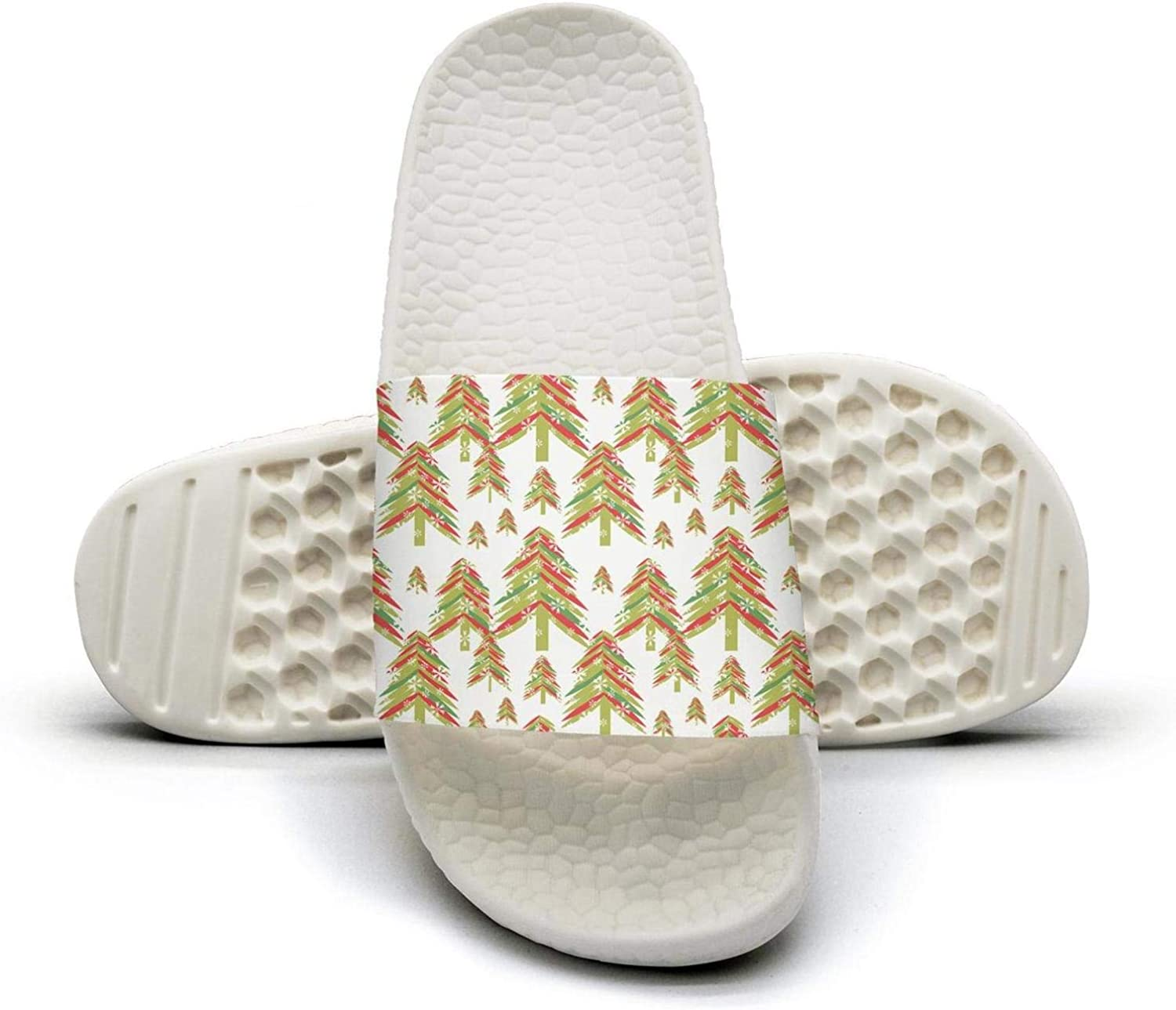 Beautiful Women Cute Christmas Tree colorful Slip on Beach Sandals and Anti-Slip Shower Slipper Comfort Sandals