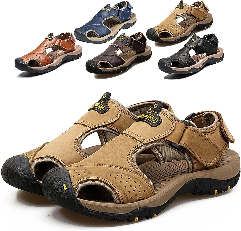Mens Overseas parallel import regular item Hiking Genuine Closed Toe Sandals Sport Leather Athletic Waterproof
