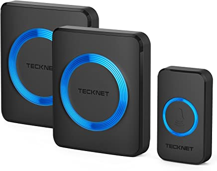 TeckNet Wireless Doorbell, Waterproof Twin Wall Plug-in Cordless Door Chime Kit With 300m Range, 52 Chimes, 4-Level Volume & Blue Light, No Batteries Required Best for Plug in Door Entry Bell